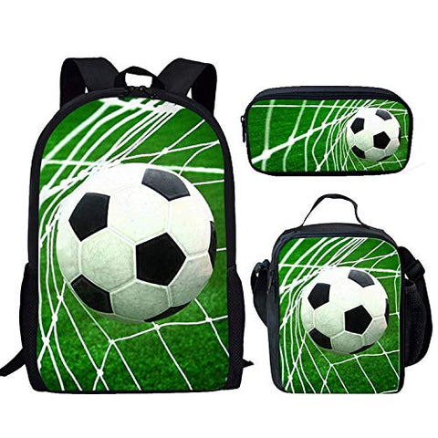 FOR U DESIGNS Sport Soccer One Set Backpack with Outdoor Insulation Lunch Bag + Pencil Case Green