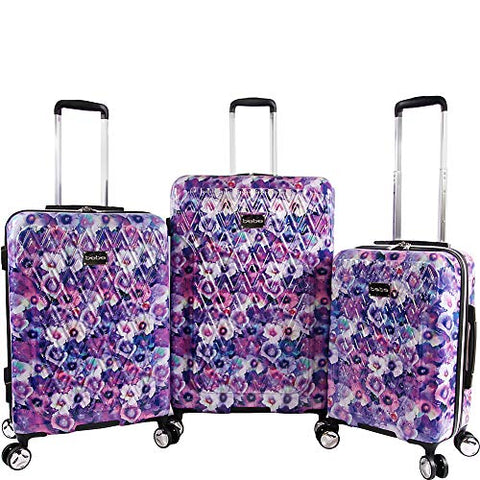 BEBE Women's Gia 3pc Suitcase Set with Spinner Wheels, Purple Pansies