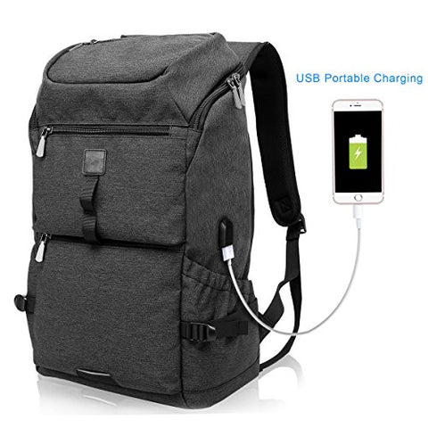 Tocode Water Resistant Laptop Backpack With Usb Charging Port Fits Up To 15.6-Inch Laptop Travel