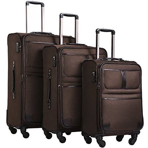 Coolife Luggage 3 Piece Set Suitcase with TSA lock pinner softshell 20in24in28in (brown)