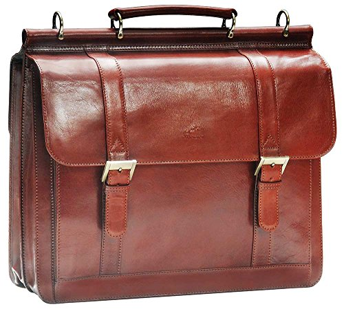 "Mancini SIGNATURE Luxurious Italian Leather 15.6"" Laptop Briefcase in Brown"