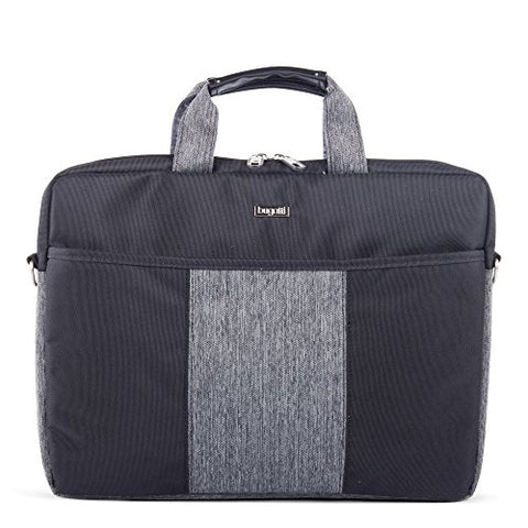 Bugatti Matt Executive Slim Briefcase, Polyester, Black