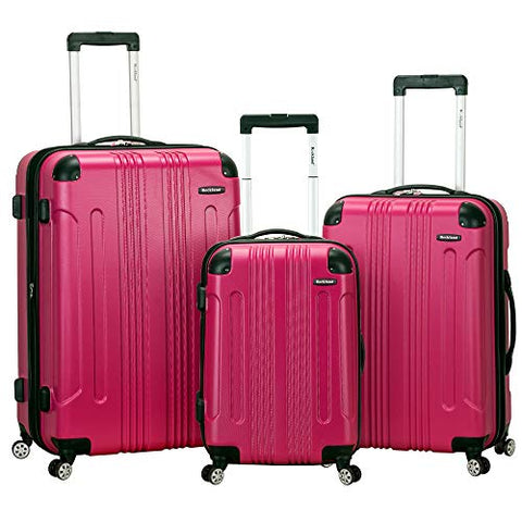 Rockland Luggage 3 Piece Sonic Upright Set, Magenta, One Size