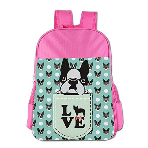 Gibberkids Children Boston Terrier Dog Cartoon School Lunch Bag Bookbag Boys/Girls For 4-15 Years