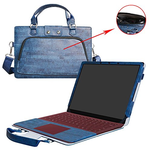 "Surface Laptop Case,2 in 1 Accurately Designed Protective PU Leather Cover + Portable Carrying Bag For 13.5"" Microsoft Surface Laptop,Blue"