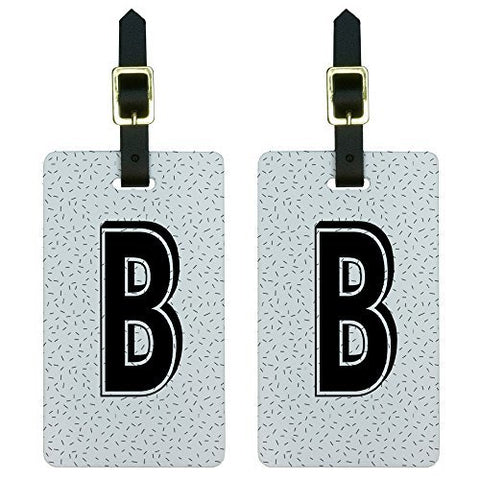 Graphics & More Letter B Initial Sprinkles Black Luggage Tags Suitcase Id, White