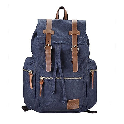 Globe House Products GHP Blue Vintage Style Water Resistant Canvas Camping Backpack with Adjustable