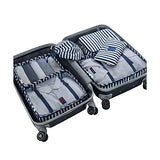 Packing Cubes Backpack Organizers Set for Carry on Travel Bag Luggage Cube (Blue Stripe 6)