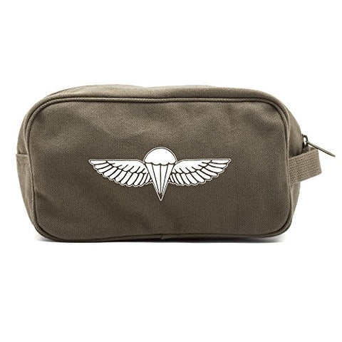 IDF ISRAELI ARMY Paratrooper Wings BADGE Zahal Canvas Shower Kit Travel Toiletry Bag Case in