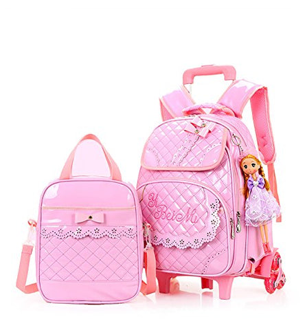 Meetbelify Rolling Backpacks For Girls School Bags Trolley Handbag With Lunch Bag Style B-Pink