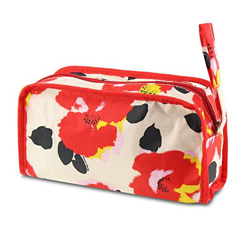 Zodaca Travel Toiletries Bag, Red Garde Poppy Print