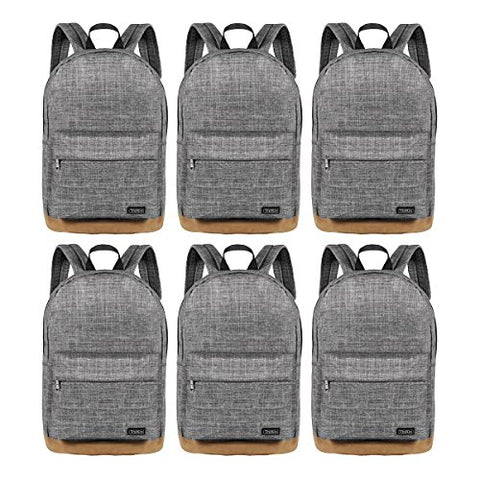Freewander Bookbag Basic Backpack Lightweight Simple Daypack for Teens (01-Grey-6)