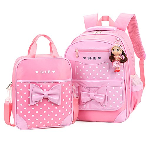 Efree 2 pcs Girl's Polka Dot Cute Bow Princess Waterproof Pink School Backpack Girls Book Bag