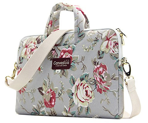 Canvaslove Grey Rose Pattern 15 inch Canvas Waterproof Laptop Shoulder Messenger Bag for 14 Inch to15.6 inch Laptop and Macbook Pro 15 laptop Case