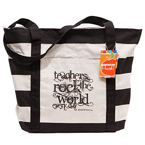 "Teacher Peach ""Teachers Rock"" Canvas Tote Bag - Motivational Handbag With Pockets And Zipper - Best"