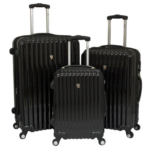 AMKA Expandable 3-Piece Hardside Spinner Luggage Set with TSA Lock-Black