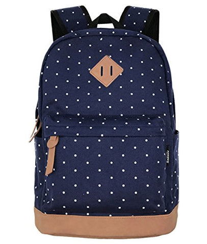 SAMGOO Unisex Packable Lightweight Canvas College Backpacks Travel Hiking Laptop Backpack Rucksack Schoolbags School Book bag Daypack (Navy Blue Polka Dot)