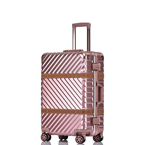 Aluminum Frame Luggage Hardside Fashion Suitcase with Detachable Spinner Wheels 24 Inch Rose Gold