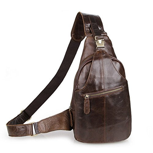 Sealinf Men'S Leather Outdoor Chest Cross Body Bag Fanny Backpack (Deep Brown)