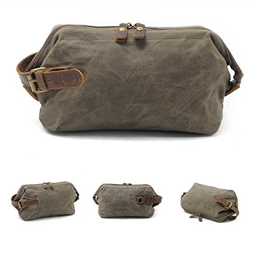 Royal Fair Men'S Toiletries Real Leather Wrist Wrap Retro Wax Canvas Toiletry Bag Travel (Army