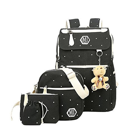 Fanci 4Pcs Polka Dot Women Canvas Daypack Casual School Bag for Girls Middle High School Backpack
