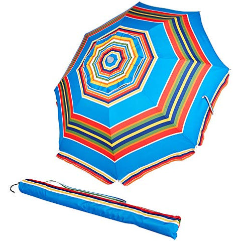 AmazonBasics Beach Umbrella - Blue/Red Striped
