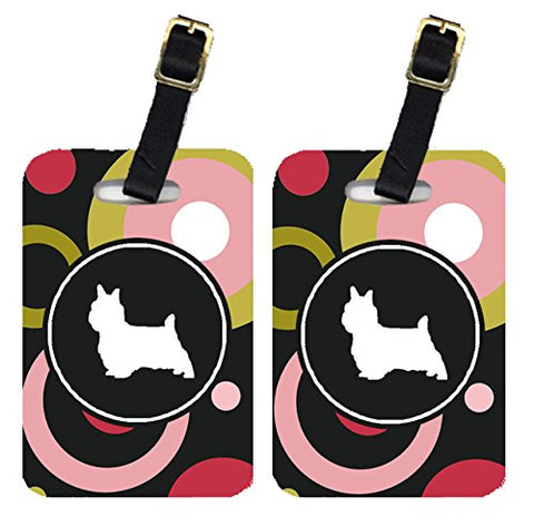 Caroline's Treasures KJ1056BT Pair of 2 Silky Terrier Luggage Tags, Large, multicolor