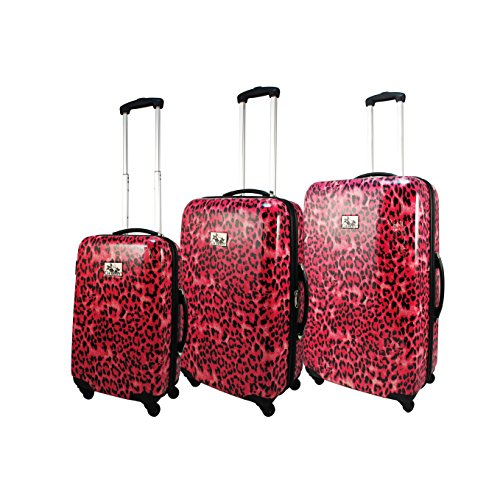 Chariot 3-Piece Hardside Lightweight Spinner Upright Luggage Set, Pink Leopard