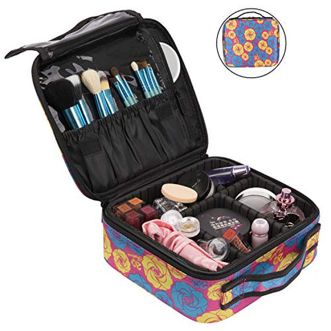 NiceEbag Travel Makeup Bag Cosmetic Bag for Women Girls Professional Train Case Nylon Cosmetic Storage Organizer with Removable Dividers for Cosmetics Make Up Tools, Large & Cute & DIY, Rose