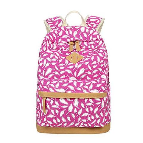 ABage Women's Canvas Backpack Lightweight Pattern Book Bag Laptop School Backpacks, Rose Red