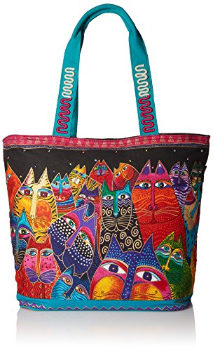 Laurel Burch Shoulder Tote Zipper Top 19, 1/2-Inch by 6, 3/4-Inch by 15-Inch, Fantasticats