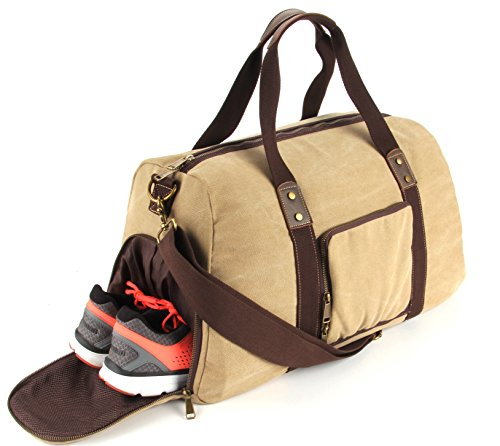 Duffel Bag with Shoe Compartment Canvas Weekender Tote (Khaki)