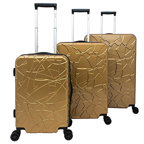 Chariot Travelware Chariot Crystal 3-piece Expandable Lightweight Spinner Luggage Set Gold