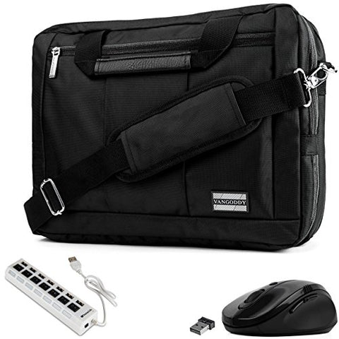 VanGoddy 3-in-1 Black Trim Hybrid Laptop Bag w/USB Hub & Mouse for Dell Inspiron/Latitude /
