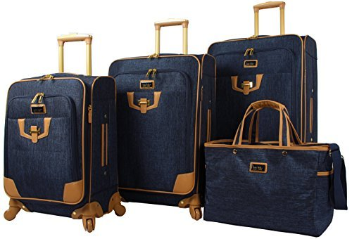 "Nicole Miller Paige Collection 4-Piece Luggage Set: 28"", 24"", 20"" Spinners and Tote Bag (Navy)"