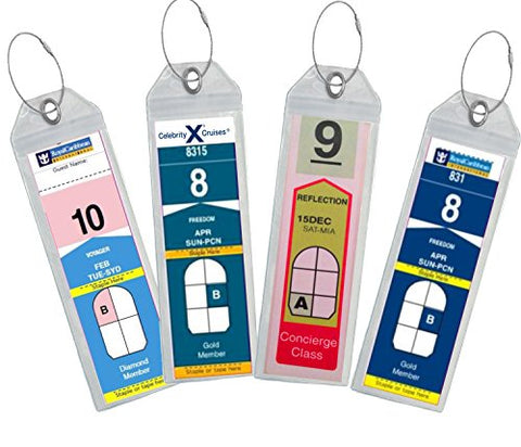Cruise Luggage Tag Holder Zip Seal & Steel - Royal Caribbean & Celebrity Cruise (Clear - 8 Pack)