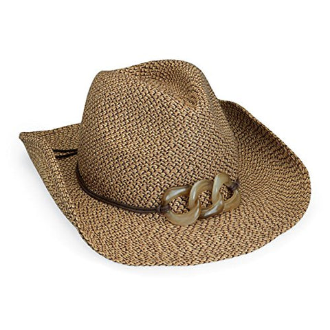 Wallaroo Women'S Sierra Sun Hat - Paper Braid Cowboy Hat - Upf50+, Brown Combo