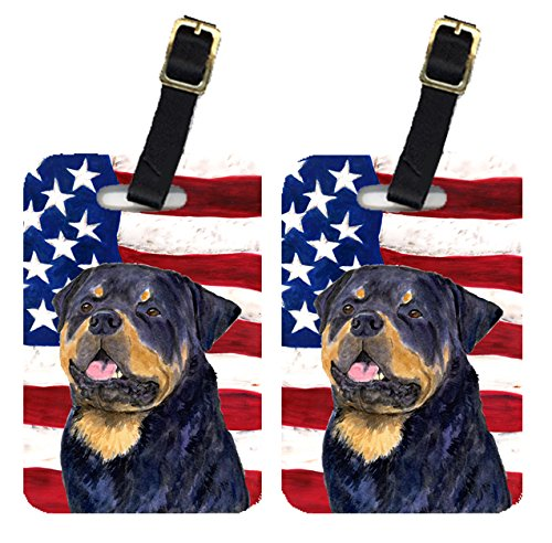 Caroline's Treasures SS4009BT Pair of USA American Flag with Rottweiler Luggage Tags , Large, multicolor