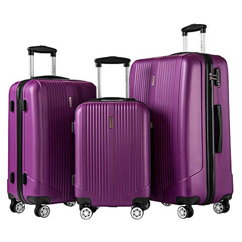 Luggage Set 3 Piece Set Suitcase set with TSA Lock Spinner Hard shell Lightweight (Purple)