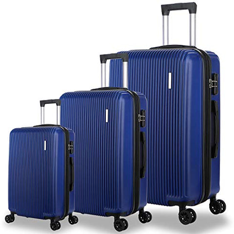Dfavors 3 Pieces Expandable Luggage Set Abc Hardside Spinner Set Lightweight Carry On Suitcase