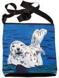 Seal Small Cross Body Handbag - From My Original Paintings, Support Wildlife Conservation, Read How (Seal - Playful Pup)