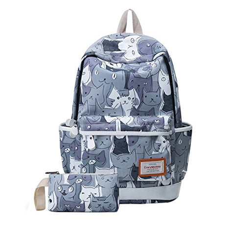 ABage Women's School Backpack Set Patterned Lightweight Book Bag Laptop Backpacks, A6