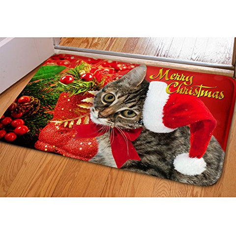 Merry Christmas Cats Doormat Indoor Kitchen Rugs Bathmat Anti-Slip Doginthehole