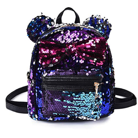 5f07d75d11b4 Women Girl's Sequin Backpack Cute Mini Fashion Backpack Ears Bowknot  Shoulder