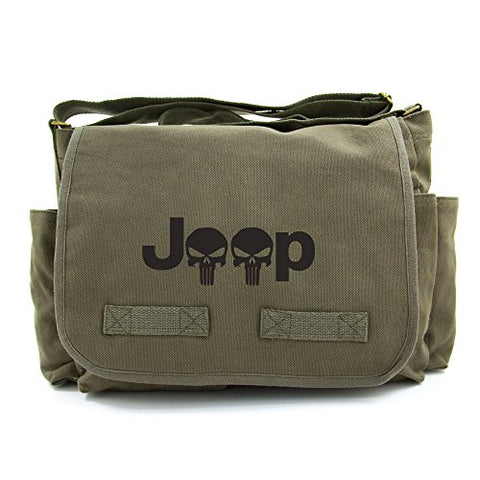 Jeep Wrangler Punisher Skull Heavyweight Messenger Shoulder Bag, Olive & Black