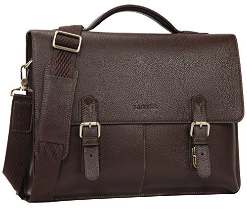 "Banuce Vintage Faux Leather Briefcase for Men PU Business Tote Messenger Satchel 14"" Laptop Bag"