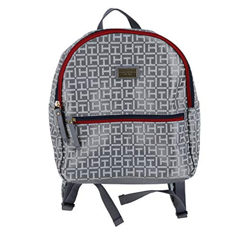 Tommy Hilfiger Women's Small Backpack Monogram Logo TH (Grey)