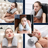 Cotton Li SA Neck Pillow for Travel Home, Portable Head Cervical Support Rest Cussion Twist Adjustable Bendable Memory Foam Roll Pillow for Flight/Road Trips, Office Nap, Camping - Grey
