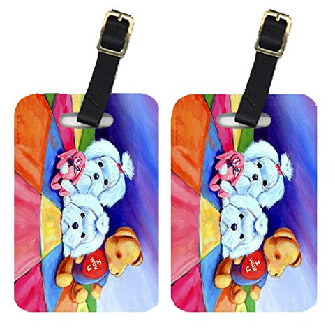 Caroline's Treasures 7515BT Pair of 2 Maltese Luggage Tags, Large, multicolor