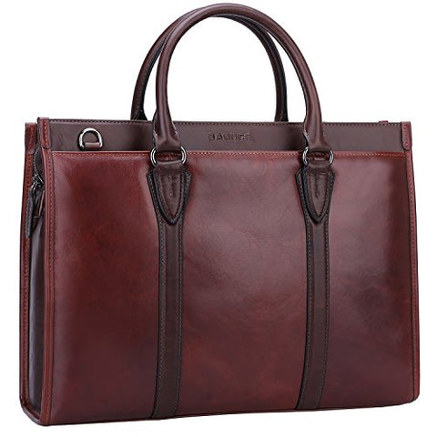 Banuce Vintage Full Grain Leather Briefcase for Men 2way Business Tote Laptop Shoulder Messenger